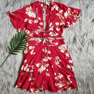 2 piece Red Floral Set